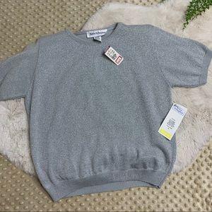 VTG. 90's NWT Knit Short Sleeve Metallic Sweater M